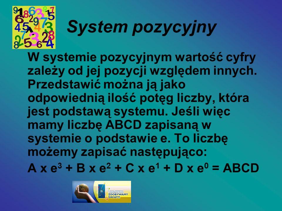 System pozycyjny W systemie pozycyjnym wartość cyfry zależy od jej pozycji względem innych. Przedstawić można ją jako odpowiednią ilość potęg liczby,