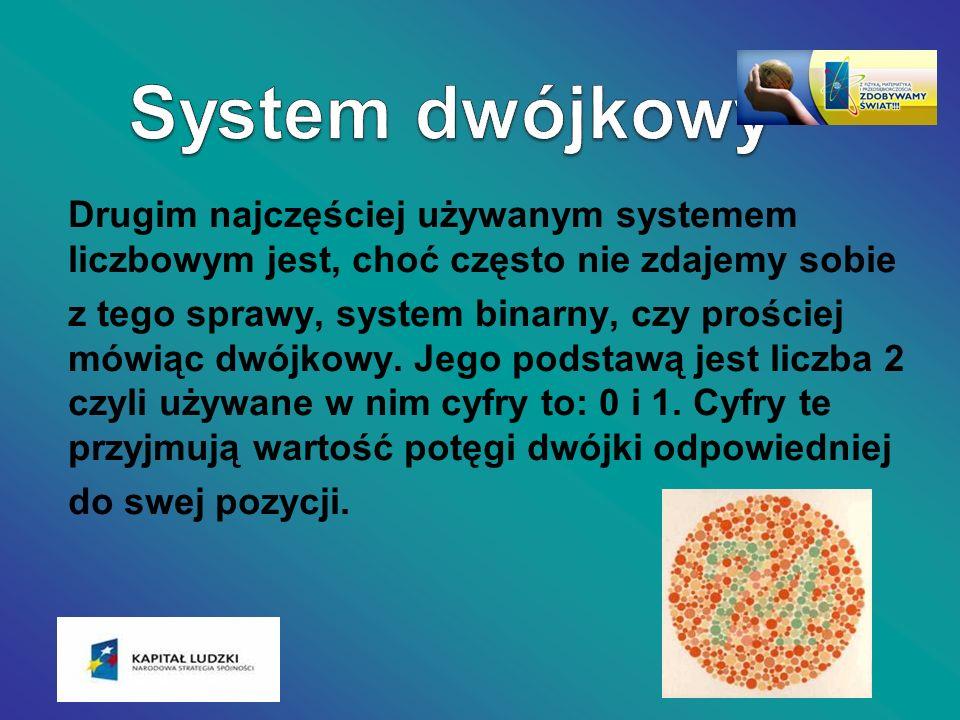 Drugim najczęściej używanym systemem liczbowym jest, choć często nie zdajemy sobie z tego sprawy, system binarny, czy prościej mówiąc dwójkowy. Jego p