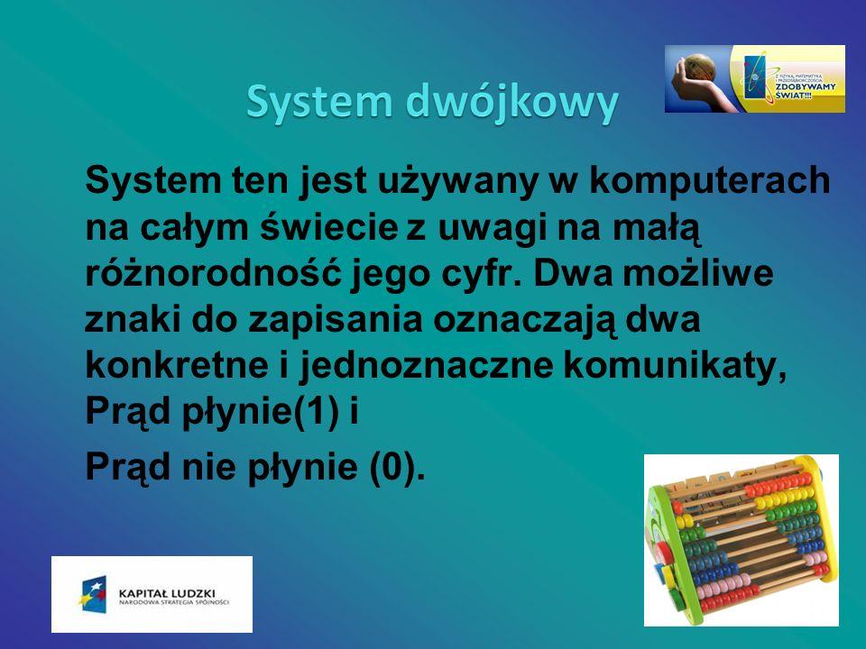 System ten jest używany w komputerach na całym świecie z uwagi na małą różnorodność jego cyfr. Dwa możliwe znaki do zapisania oznaczają dwa konkretne