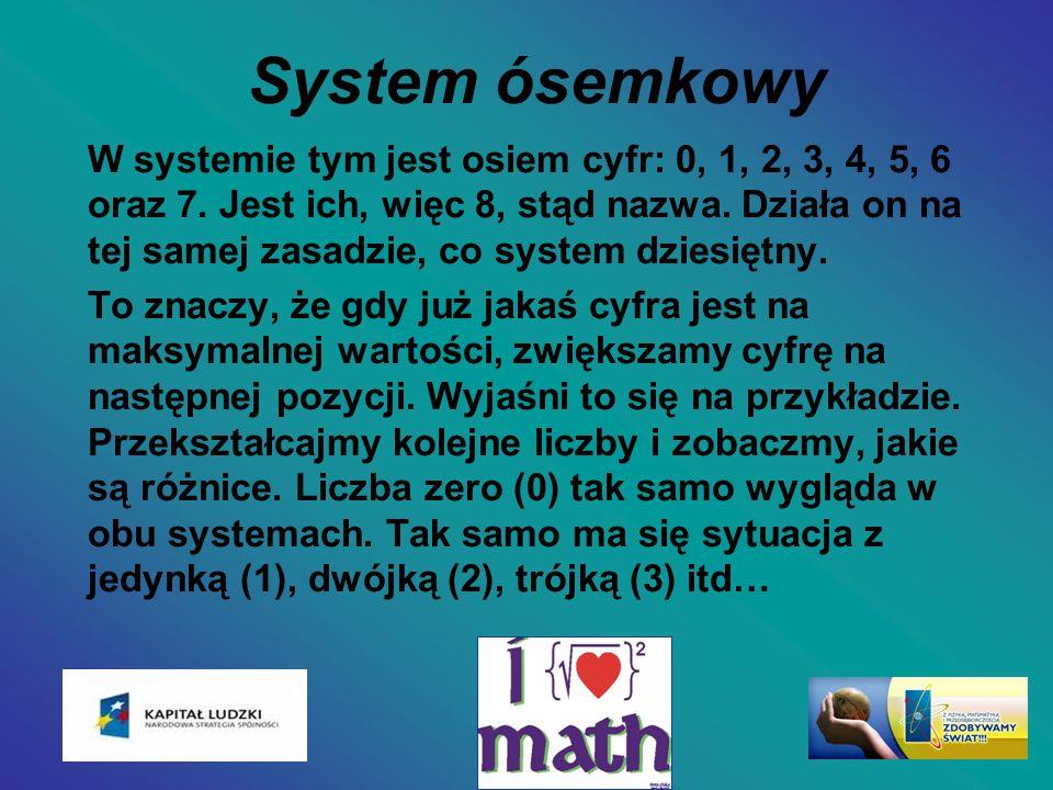 System ósemkowy W systemie tym jest osiem cyfr: 0, 1, 2, 3, 4, 5, 6 oraz 7. Jest ich, więc 8, stąd nazwa. Działa on na tej samej zasadzie, co system d