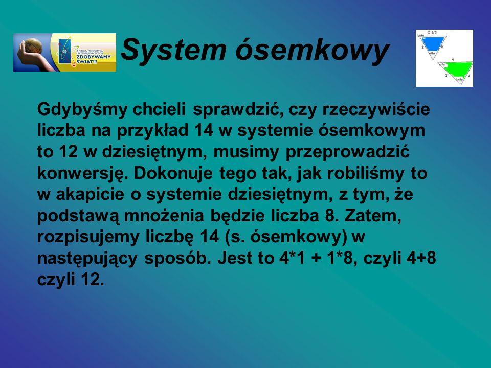 System ósemkowy Gdybyśmy chcieli sprawdzić, czy rzeczywiście liczba na przykład 14 w systemie ósemkowym to 12 w dziesiętnym, musimy przeprowadzić konw