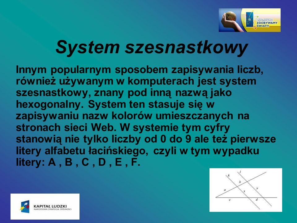 System szesnastkowy Innym popularnym sposobem zapisywania liczb, również używanym w komputerach jest system szesnastkowy, znany pod inną nazwą jako he