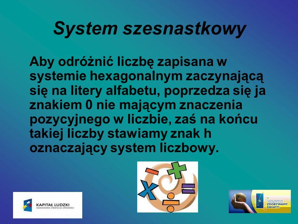 System szesnastkowy Aby odróżnić liczbę zapisana w systemie hexagonalnym zaczynającą się na litery alfabetu, poprzedza się ja znakiem 0 nie mającym zn