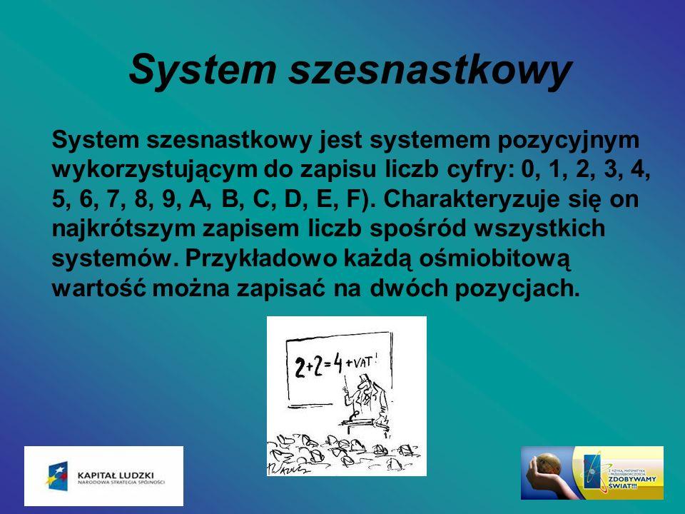 System szesnastkowy System szesnastkowy jest systemem pozycyjnym wykorzystującym do zapisu liczb cyfry: 0, 1, 2, 3, 4, 5, 6, 7, 8, 9, A, B, C, D, E, F