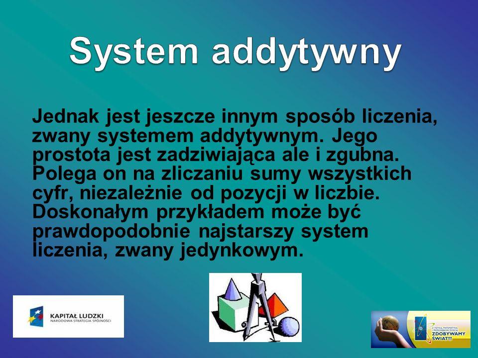 Jednak jest jeszcze innym sposób liczenia, zwany systemem addytywnym. Jego prostota jest zadziwiająca ale i zgubna. Polega on na zliczaniu sumy wszyst