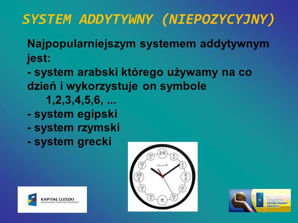 SYSTEM ADDYTYWNY (NIEPOZYCYJNY) Najpopularniejszym systemem addytywnym jest: - system arabski którego używamy na co dzień i wykorzystuje on symbole 1,