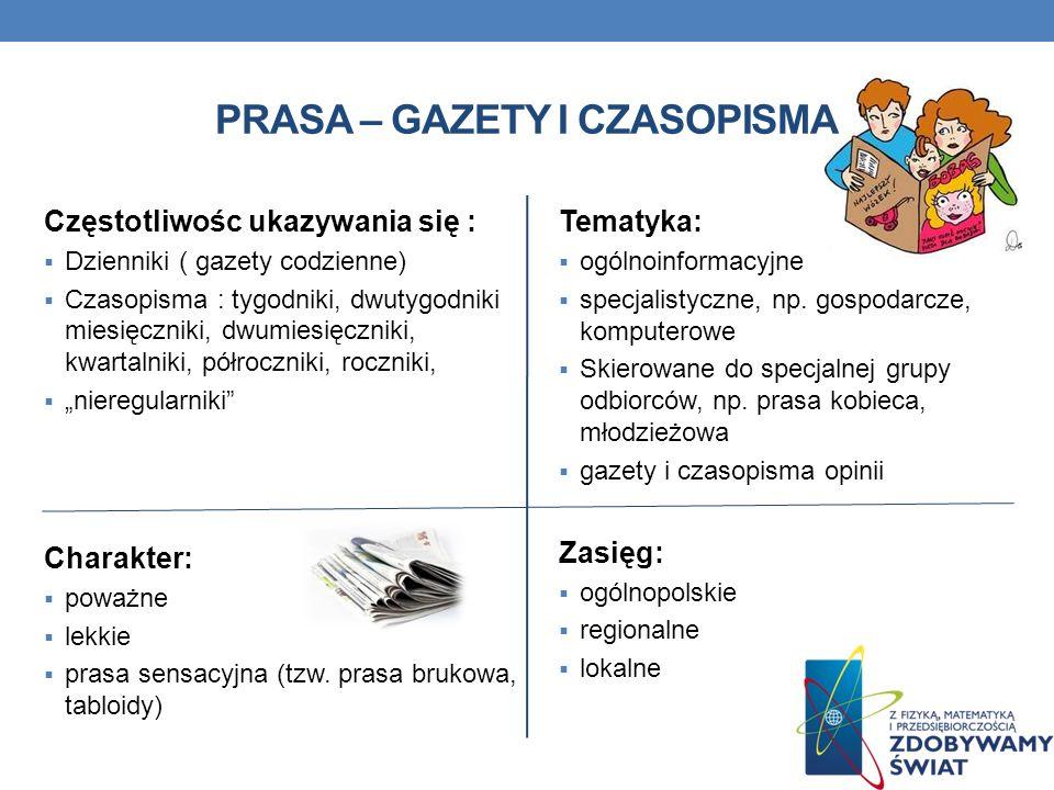 PRASA – GAZETY I CZASOPISMA Częstotliwośc ukazywania się : Dzienniki ( gazety codzienne) Czasopisma : tygodniki, dwutygodniki miesięczniki, dwumiesięc