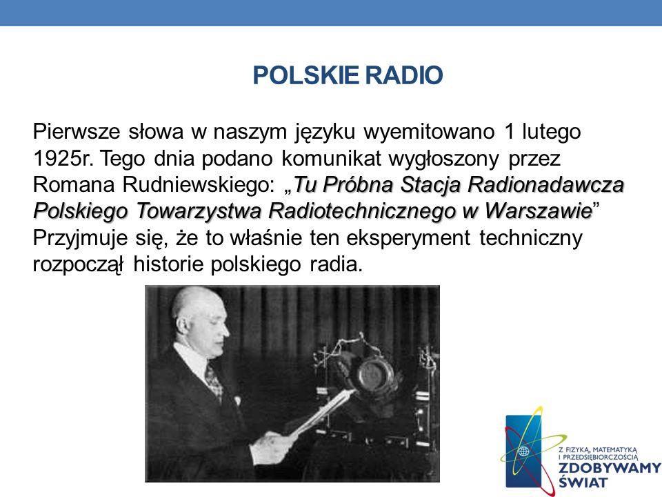 POLSKIE RADIO Tu Próbna Stacja Radionadawcza Polskiego Towarzystwa Radiotechnicznego w Warszawie Pierwsze słowa w naszym języku wyemitowano 1 lutego 1