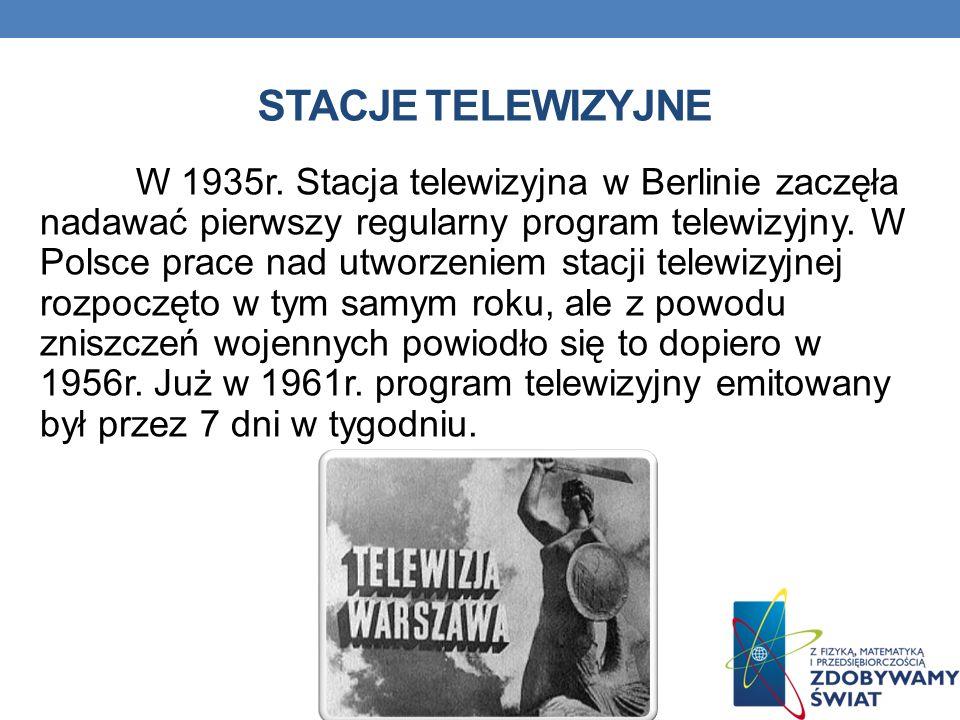 STACJE TELEWIZYJNE W 1935r. Stacja telewizyjna w Berlinie zaczęła nadawać pierwszy regularny program telewizyjny. W Polsce prace nad utworzeniem stacj
