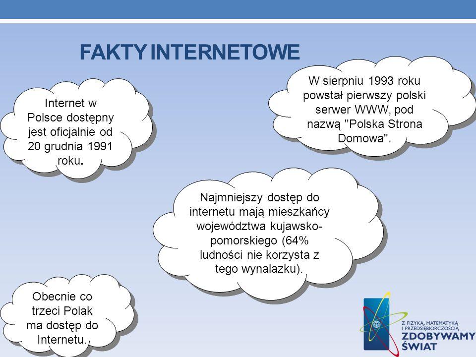 FAKTY INTERNETOWE Internet w Polsce dostępny jest oficjalnie od 20 grudnia 1991 roku. W sierpniu 1993 roku powstał pierwszy polski serwer WWW, pod naz