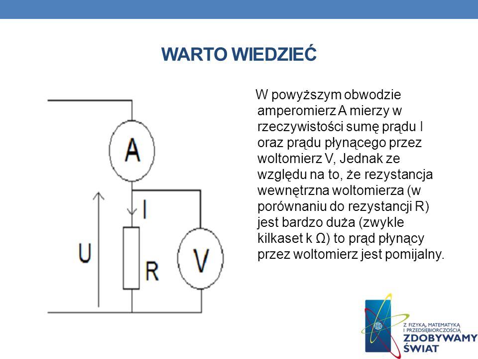WARTO WIEDZIEĆ W powyższym obwodzie amperomierz A mierzy w rzeczywistości sumę prądu I oraz prądu płynącego przez woltomierz V, Jednak ze względu na t