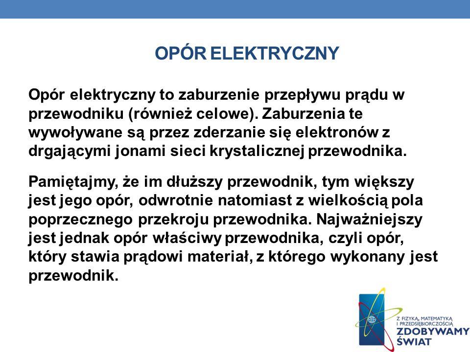 OPÓR ELEKTRYCZNY Opór elektryczny to zaburzenie przepływu prądu w przewodniku (również celowe). Zaburzenia te wywoływane są przez zderzanie się elektr