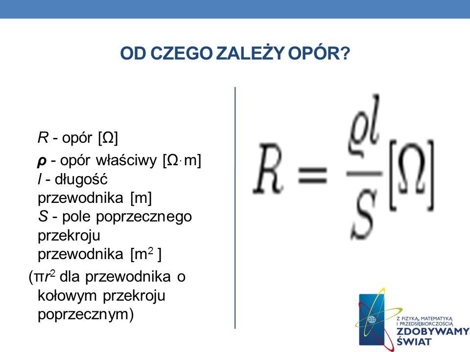 OD CZEGO ZALEŻY OPÓR? R - opór [Ω] ρ - opór właściwy [Ωּm] l - długość przewodnika [m] S - pole poprzecznego przekroju przewodnika [m 2 ] (πr 2 dla pr