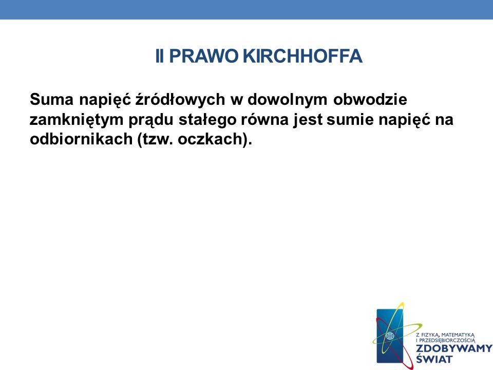 II PRAWO KIRCHHOFFA Suma napięć źródłowych w dowolnym obwodzie zamkniętym prądu stałego równa jest sumie napięć na odbiornikach (tzw. oczkach).