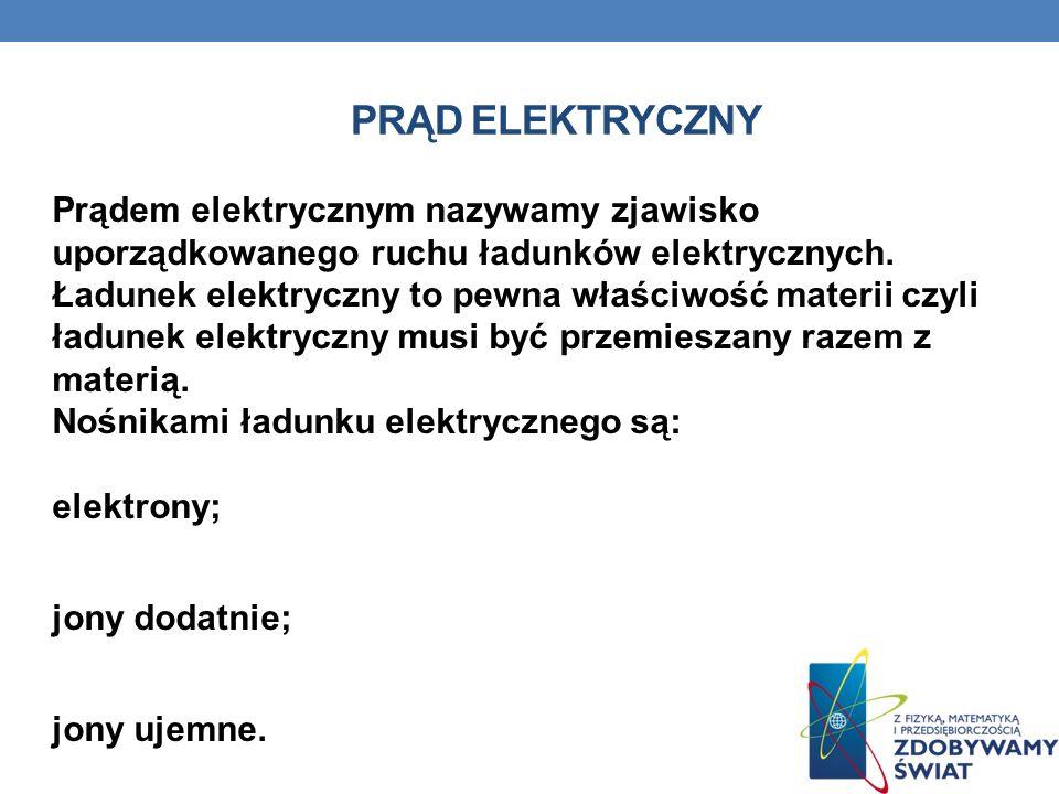 PRĄD ELEKTRYCZNY Prądem elektrycznym nazywamy zjawisko uporządkowanego ruchu ładunków elektrycznych. Ładunek elektryczny to pewna właściwość materii c