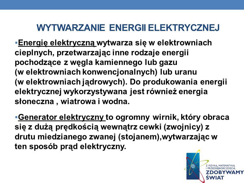 WYTWARZANIE ENERGII ELEKTRYCZNEJ Energię elektryczną wytwarza się w elektrowniach cieplnych, przetwarzając inne rodzaje energii pochodzące z węgla kam