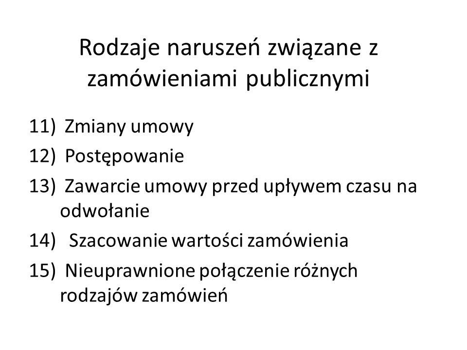 Rodzaje naruszeń związanych z zamówieniami publicznymi 6)Posiadanie sprzętu na etapie składania ofert 7)Konsorcjum 8)Podział zamówienia i brak publika