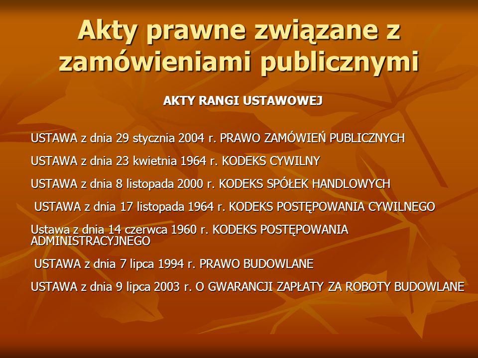 Akty prawne związane z zamówieniami publicznymi AKTY RANGI USTAWOWEJ USTAWA z dnia 29 stycznia 2004 r. PRAWO ZAMÓWIEŃ PUBLICZNYCH USTAWA z dnia 23 kwi
