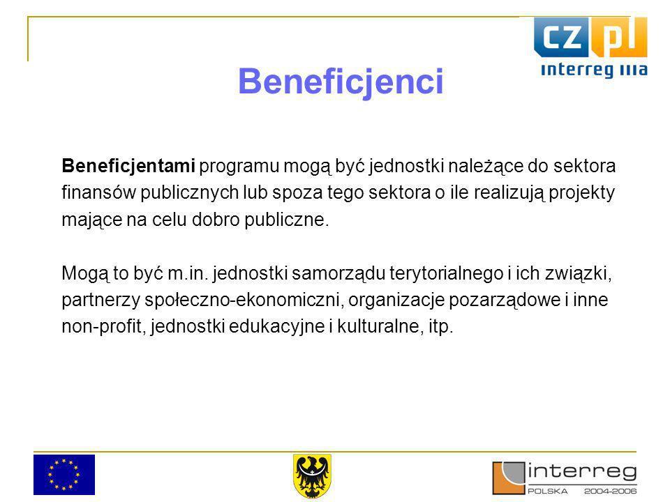 Beneficjenci Beneficjentami programu mogą być jednostki należące do sektora finansów publicznych lub spoza tego sektora o ile realizują projekty mające na celu dobro publiczne.