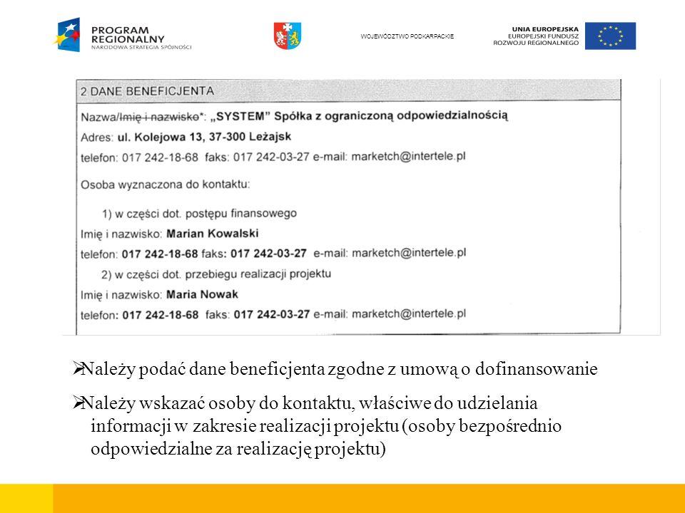 Należy podać dane beneficjenta zgodne z umową o dofinansowanie Należy wskazać osoby do kontaktu, właściwe do udzielania informacji w zakresie realizacji projektu (osoby bezpośrednio odpowiedzialne za realizację projektu) WOJEWÓDZTWO PODKARPACKIE