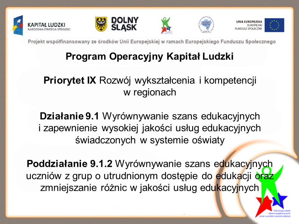 Program Operacyjny Kapitał Ludzki Priorytet IX Rozwój wykształcenia i kompetencji w regionach Działanie 9.1 Wyrównywanie szans edukacyjnych i zapewnienie wysokiej jakości usług edukacyjnych świadczonych w systemie oświaty Poddziałanie 9.1.2 Wyrównywanie szans edukacyjnych uczniów z grup o utrudnionym dostępie do edukacji oraz zmniejszanie różnic w jakości usług edukacyjnych