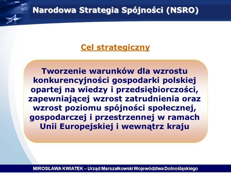 Narodowa Strategia Spójności (NSRO) Cel strategiczny Tworzenie warunków dla wzrostu konkurencyjności gospodarki polskiej opartej na wiedzy i przedsiębiorczości, zapewniającej wzrost zatrudnienia oraz wzrost poziomu spójności społecznej, gospodarczej i przestrzennej w ramach Unii Europejskiej i wewnątrz kraju MIROSŁAWA KWIATEK – Urząd Marszałkowski Województwa Dolnośląskiego