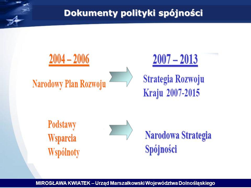 Dokumenty polityki spójności MIROSŁAWA KWIATEK – Urząd Marszałkowski Województwa Dolnośląskiego