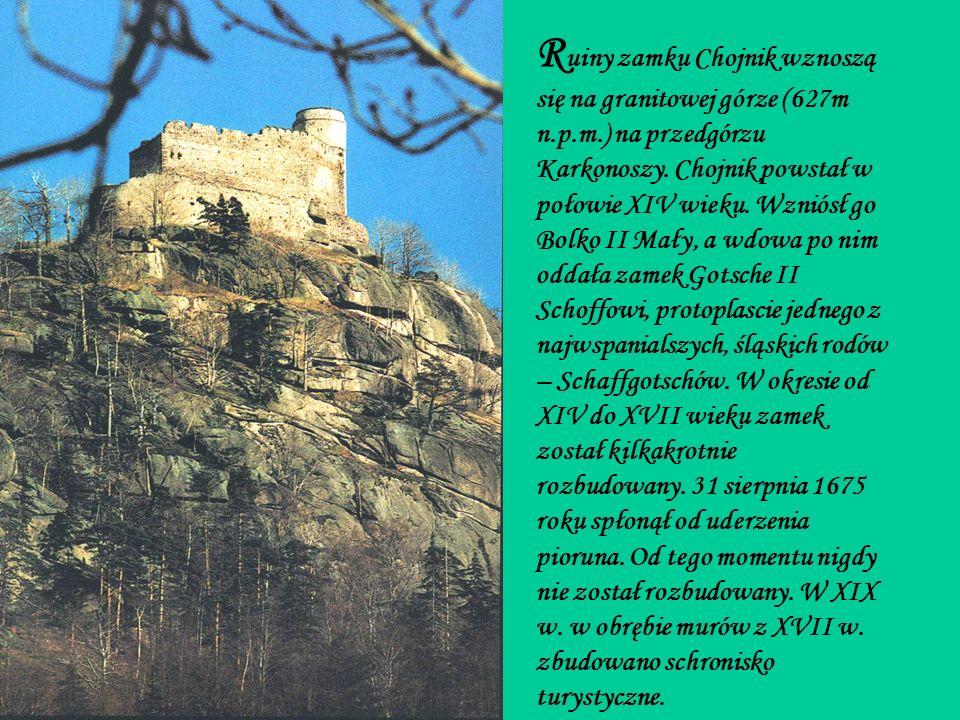 R uiny zamku Chojnik wznoszą się na granitowej górze (627m n.p.m.) na przedgórzu Karkonoszy.
