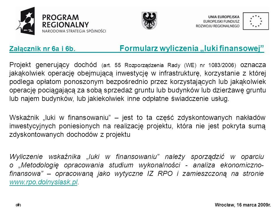 Urząd Marszałkowski Województwa Dolnośląskiego Wrocław, 16 marca 2009r. 12 Załącznik nr 6a i 6b. Formularz wyliczenia luki finansowej Wskaźnik luki w