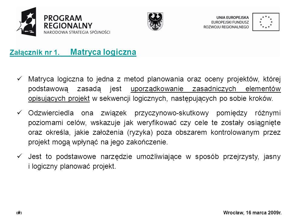 Urząd Marszałkowski Województwa Dolnośląskiego Wrocław, 16 marca 2009r. 5 Załącznik nr 1. Matryca logiczna Matryca logiczna to jedna z metod planowani