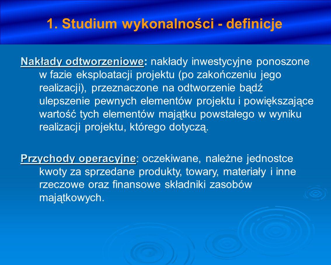 1. Studium wykonalności - definicje Nakłady odtworzeniowe Nakłady odtworzeniowe: nakłady inwestycyjne ponoszone w fazie eksploatacji projektu (po zako