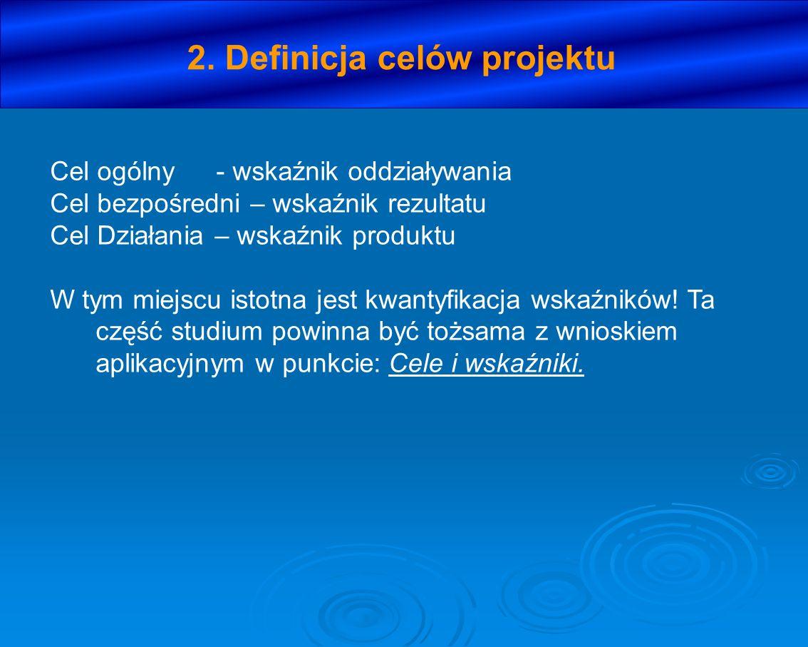 2. Definicja celów projektu Cel ogólny- wskaźnik oddziaływania Cel bezpośredni – wskaźnik rezultatu Cel Działania – wskaźnik produktu W tym miejscu is