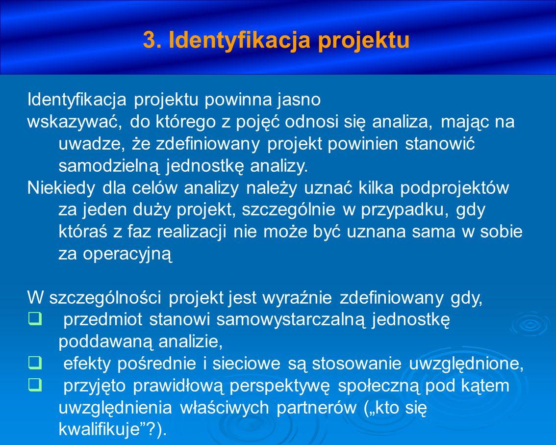 3. Identyfikacja projektu Identyfikacja projektu powinna jasno wskazywać, do którego z pojęć odnosi się analiza, mając na uwadze, że zdefiniowany proj