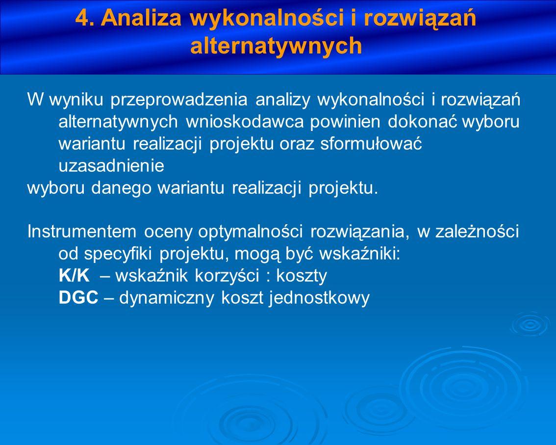 4. Analiza wykonalności i rozwiązań alternatywnych W wyniku przeprowadzenia analizy wykonalności i rozwiązań alternatywnych wnioskodawca powinien doko