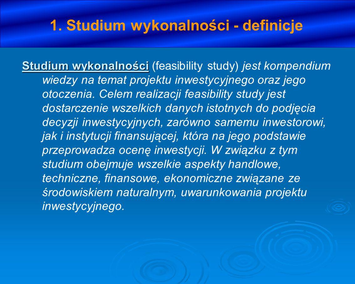1.Studium wykonalności - zakres XIII.