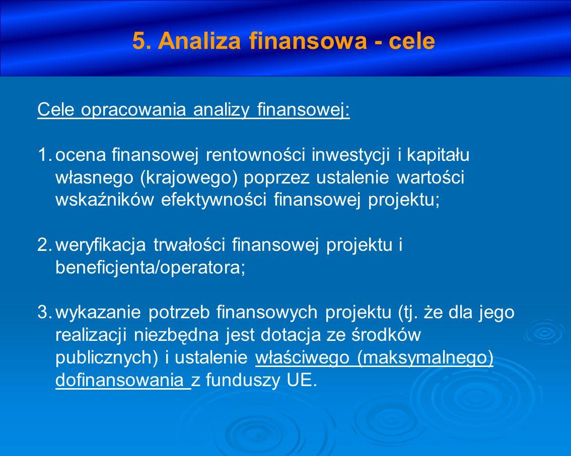5. Analiza finansowa - cele Cele opracowania analizy finansowej: 1.ocena finansowej rentowności inwestycji i kapitału własnego (krajowego) poprzez ust