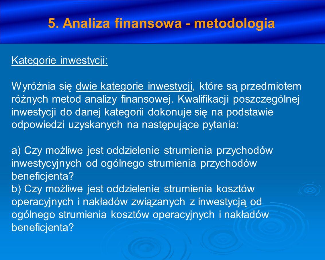 5. Analiza finansowa - metodologia Kategorie inwestycji: Wyróżnia się dwie kategorie inwestycji, które są przedmiotem różnych metod analizy finansowej