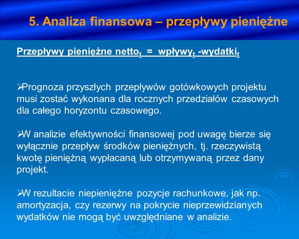 5. Analiza finansowa – przepływy pieniężne Przepływy pieniężne netto t = wpływy t -wydatki t Prognoza przyszłych przepływów gotówkowych projektu musi