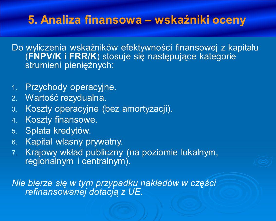 5. Analiza finansowa – wskaźniki oceny Do wyliczenia wskaźników efektywności finansowej z kapitału (FNPV/K i FRR/K) stosuje się następujące kategorie