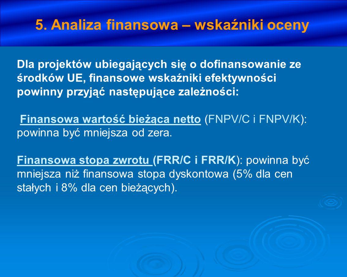 5. Analiza finansowa – wskaźniki oceny Dla projektów ubiegających się o dofinansowanie ze środków UE, finansowe wskaźniki efektywności powinny przyjąć