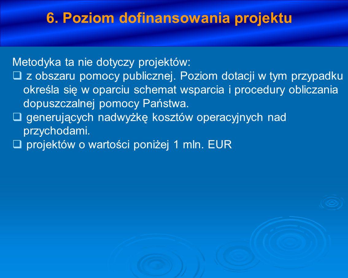 6. Poziom dofinansowania projektu Metodyka ta nie dotyczy projektów: z obszaru pomocy publicznej. Poziom dotacji w tym przypadku określa się w oparciu