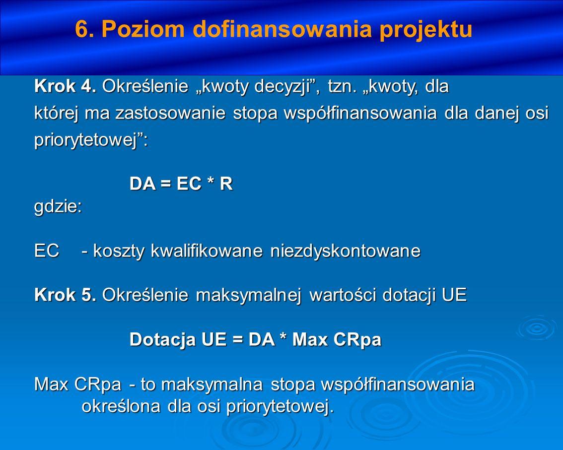 6. Poziom dofinansowania projektu Krok 4. Określenie kwoty decyzji, tzn. kwoty, dla której ma zastosowanie stopa współfinansowania dla danej osi prior