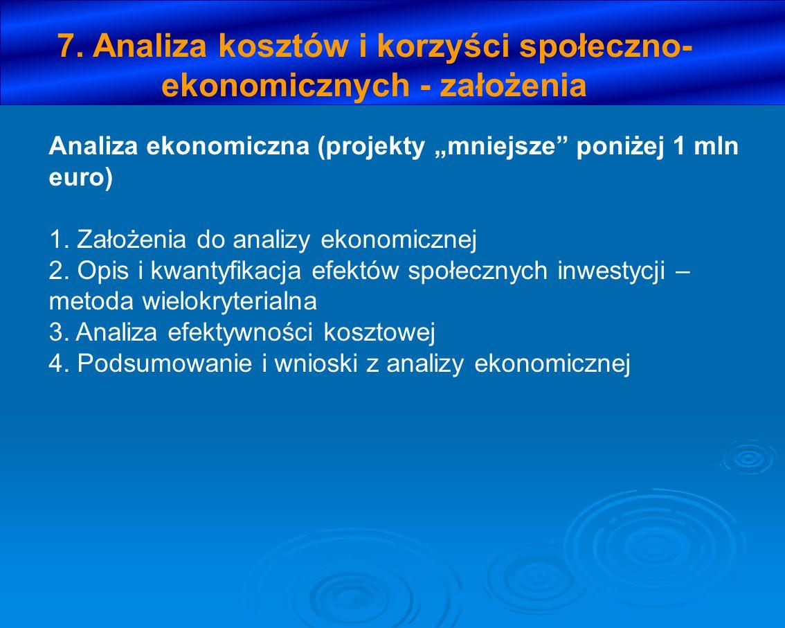 7. Analiza kosztów i korzyści społeczno- ekonomicznych - założenia Analiza ekonomiczna (projekty mniejsze poniżej 1 mln euro) 1. Założenia do analizy