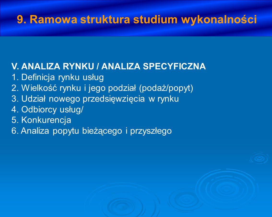 V. ANALIZA RYNKU / ANALIZA SPECYFICZNA 1. Definicja rynku usług 2. Wielkość rynku i jego podział (podaż/popyt) 3. Udział nowego przedsięwzięcia w rynk