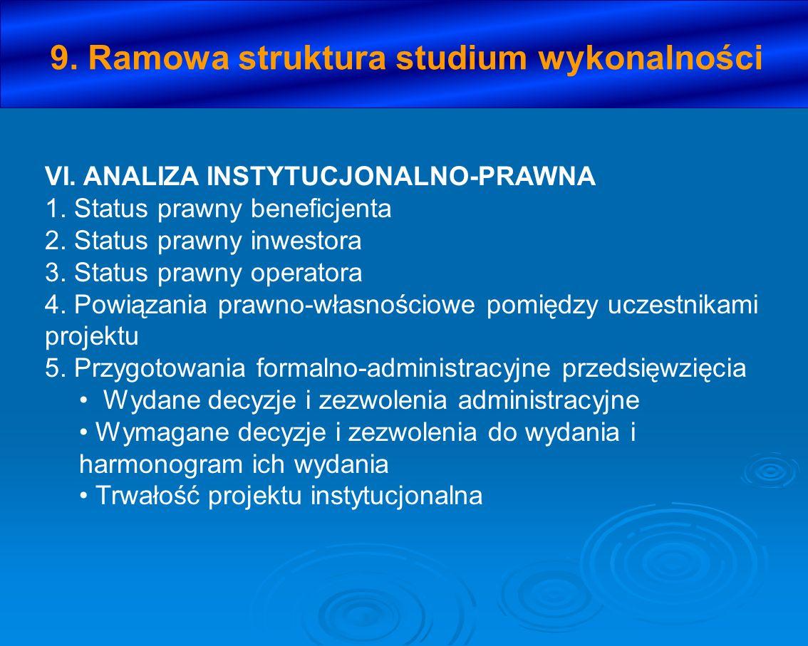 VI. ANALIZA INSTYTUCJONALNO-PRAWNA 1. Status prawny beneficjenta 2. Status prawny inwestora 3. Status prawny operatora 4. Powiązania prawno-własnościo