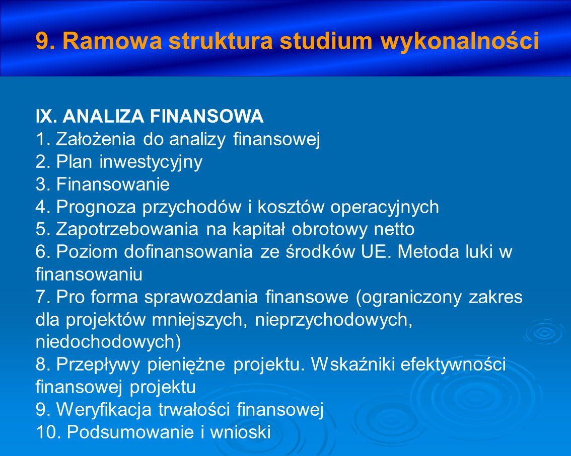 IX. ANALIZA FINANSOWA 1. Założenia do analizy finansowej 2. Plan inwestycyjny 3. Finansowanie 4. Prognoza przychodów i kosztów operacyjnych 5. Zapotrz