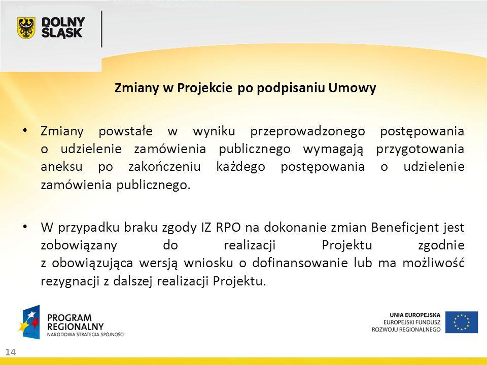 14 Zmiany w Projekcie po podpisaniu Umowy Zmiany powstałe w wyniku przeprowadzonego postępowania o udzielenie zamówienia publicznego wymagają przygotowania aneksu po zakończeniu każdego postępowania o udzielenie zamówienia publicznego.