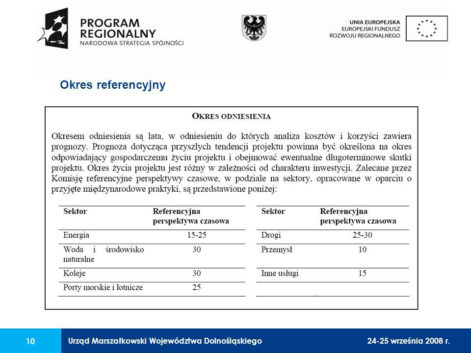 Urząd Marszałkowski Województwa Dolnośląskiego24-25 września 2008 r. 10 Okres referencyjny
