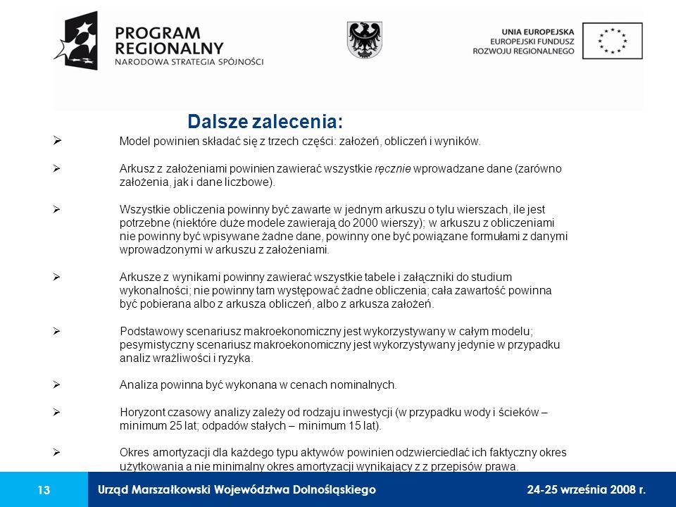 Urząd Marszałkowski Województwa Dolnośląskiego24-25 września 2008 r. 13 Dalsze zalecenia: Model powinien składać się z trzech części: założeń, oblicze