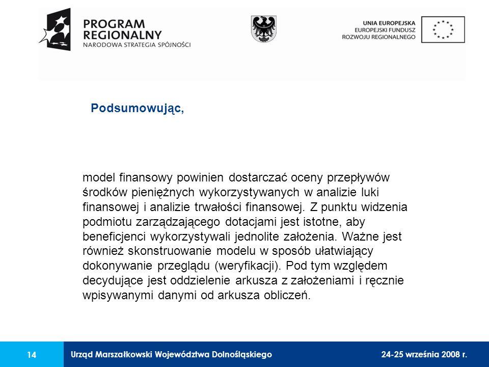 Urząd Marszałkowski Województwa Dolnośląskiego24-25 września 2008 r. 14 model finansowy powinien dostarczać oceny przepływów środków pieniężnych wykor